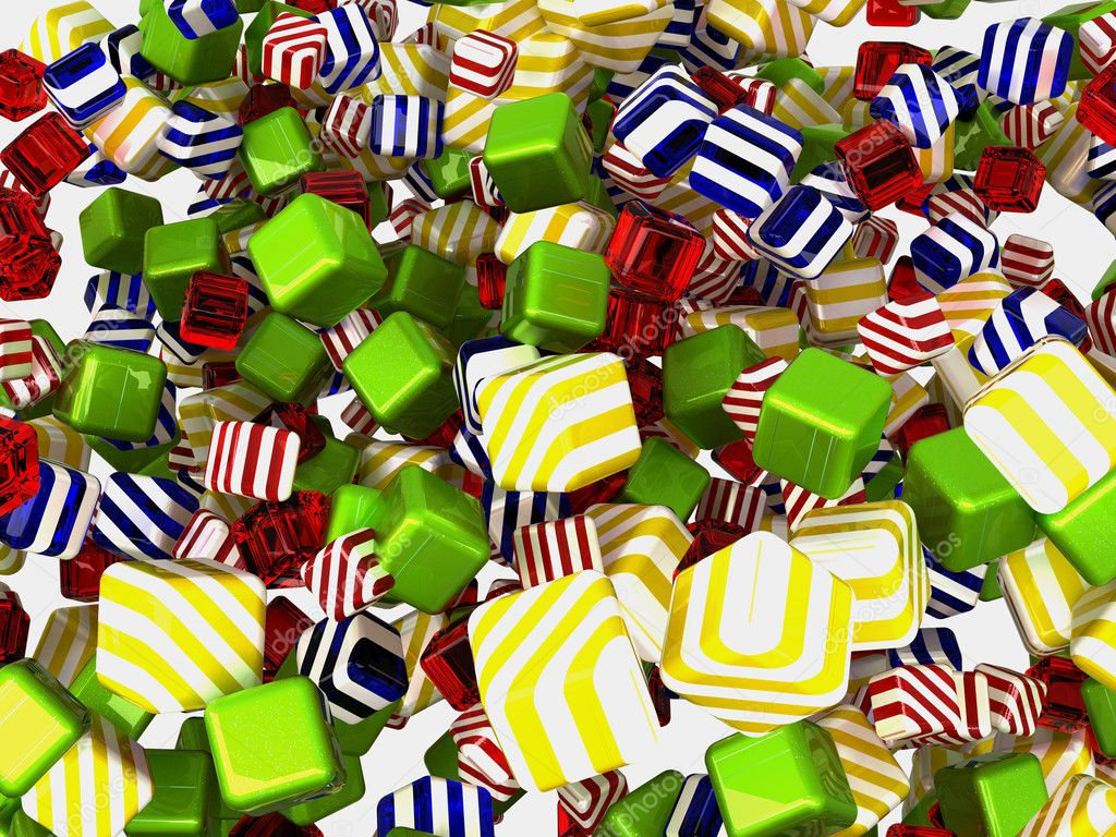 Colorful cubes or candies isolated over white background — Stock Photo #5600814