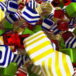 Foto Stock: Colorful cubes or bonbons on white