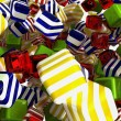 Photo: Colorful cubes or bonbons on white
