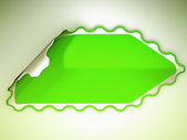 Green jagged hamous sticker or label — Stock Photo