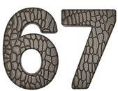 Alligator skin font 6 7 digits — Stock Photo