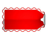 Red jagged bent sticker or label — Stock Photo