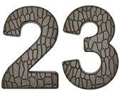 Alligator skin font 2 3 digits isolated — Stock Photo