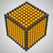 Golden and black spheres or beads cube shape — Stock Photo #5694664