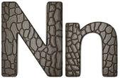 Krokodýlí kůže písmo n malá a velká písmena — Stock fotografie