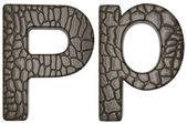 Alligator skin teckensnitt p gemener och kapital bokstäver — Stockfoto