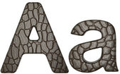 Alligator skin font A lowercase and capital letters — Stock Photo