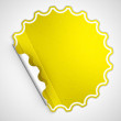 Yellow round hamous sticker or label — Stock Photo