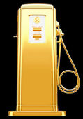 Costly fuel: golden gas pump isolated on black — Stock Photo