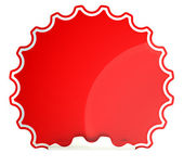 Red round hamous sticker or label — Stock Photo
