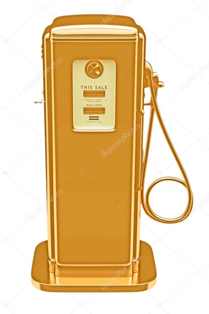 Valuable fuel: golden gas pump isolated on white. Large resolution   Stock Photo #5753581