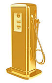 Costly fuel: golden gasoline pump isolated — Stock Photo