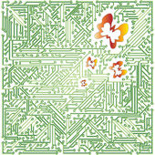 Green electronic scheme — Stock Vector