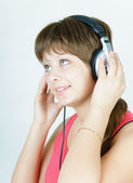 Portrait of a girl music lover — Stock Photo