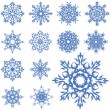 Vector set of different snowflakes — Stock Vector