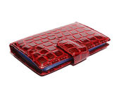 Business card holder made ​​of red imitation snakeskin — Stock Photo
