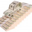Car made of dollars on stairs — Stock Photo