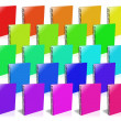 Stock Photo: Many colored ring binder.