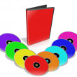 Many colorful DVD's. — Stockfoto