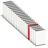 Många böcker, bara en röd. — Stockfoto