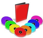 Beaucoup de dvd coloré. — Photo