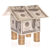 The house from dollars costs on coins. — Foto de Stock