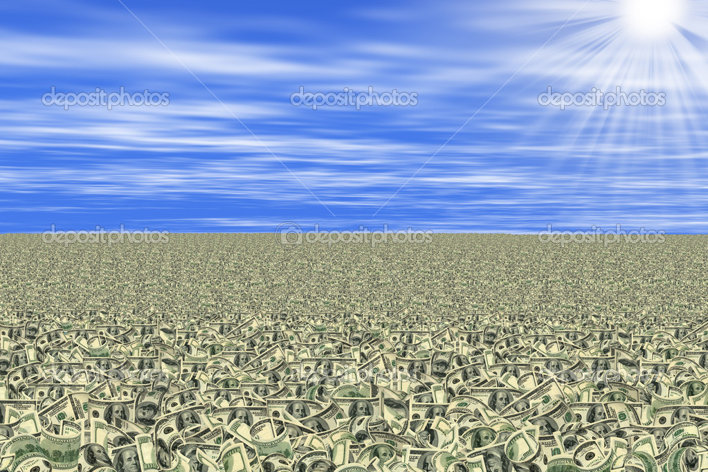 Conceptual image with sea of money or money land. All banknotes different. For giving realness of money contain elements of deterioration. — Stock Photo #5423683