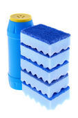 Sponges and a bottle of a cleaner — Foto de Stock