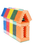 House made of cleaning sponges — Stock Photo