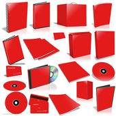 Red 3d blank cover collection — Stock Photo