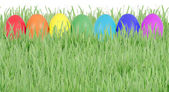 Easter eggs in row — Stock Photo