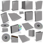 Grey 3d blank cover collection — Stock Photo