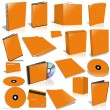 Stock Photo: Orange 3d blank cover collection