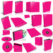 Pink 3d blank cover collection — Stock Photo