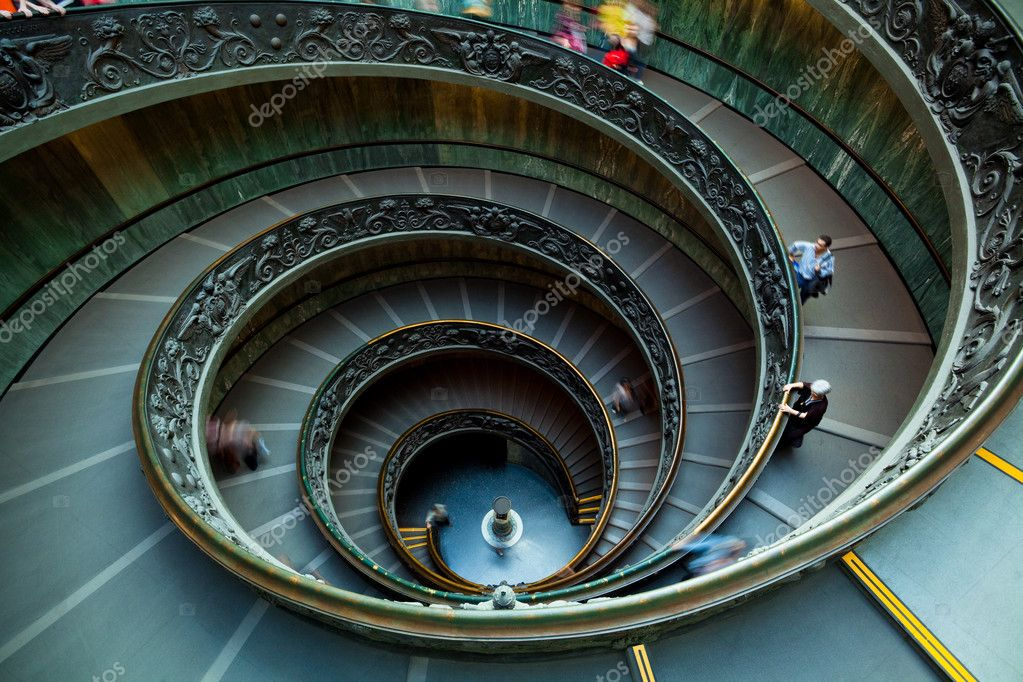 Spiral staircase in the Vatican Museum in Rome, Italy  Stock Photo #5629750