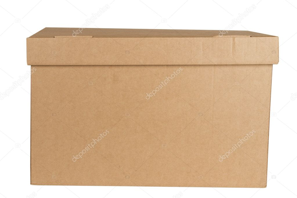 Close carton box isolated on white background. Cardboard packages — Stock Photo #5658439