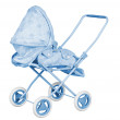 Blue Baby Carriage — Stock Photo