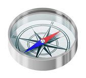 Silver compass — Stock Photo