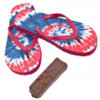 Tie Dye Flip Flop Sandals with Ice Cream Candy Bar. — Stock Photo