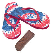Tie Dye Flip Flop Sandals with Ice Cream Candy Bar. — Stockfoto