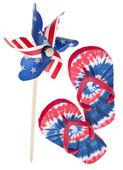 Patriotic Pinwheel and Flip Flop Sandals — Stock Photo