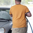 Caucasian Man Washes Car — Stock Photo