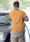 Caucasian Man Washes Car — Stock Photo