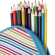 Pencil Case with Colorful Pencils Close Up — Stock Photo #6083319