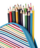 Pencil Case with Colorful Pencils Close Up — Stock Photo
