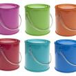 Set of 6 Colored Paint Cans — Stockfoto
