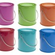 Set of 6 Colored Paint Cans — Stock Photo