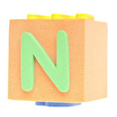 Letter N on Foam Block — Stock Photo