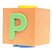 Písmeno p na pěnový blok — Stock fotografie