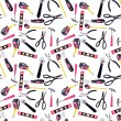 Stok fotoğraf: Pink and Black DIY Tools Seamless Background Pattern